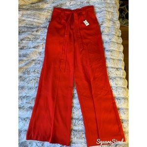 Hot red wide leg high waisted pant